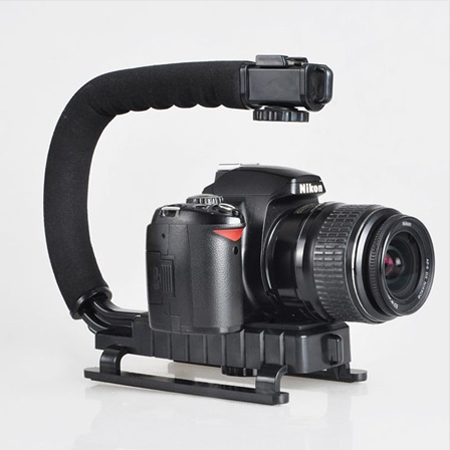 Super Grip Video DV SLR Camera Stabilizing Handle BLACK for Mic video light